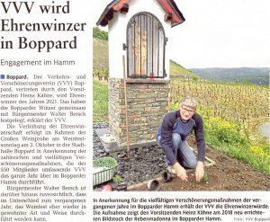 VVV wird Ehrenwinzer, Bericht aus der Rhein-Zeitung